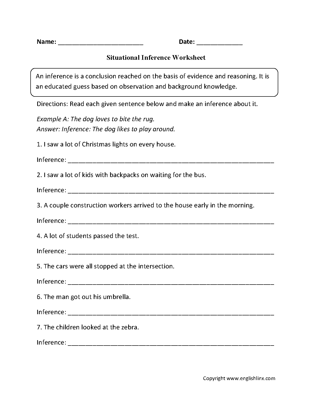 Inference Worksheets 5th Grade