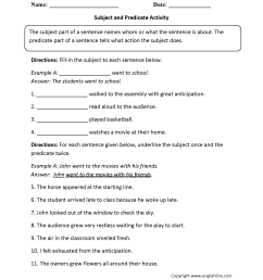 Parts of a Sentence Worksheets   Subject and Predicate Worksheets [ 2200 x 1700 Pixel ]