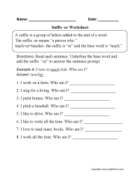 Suffixes Worksheets | Suffixes -er Worksheets