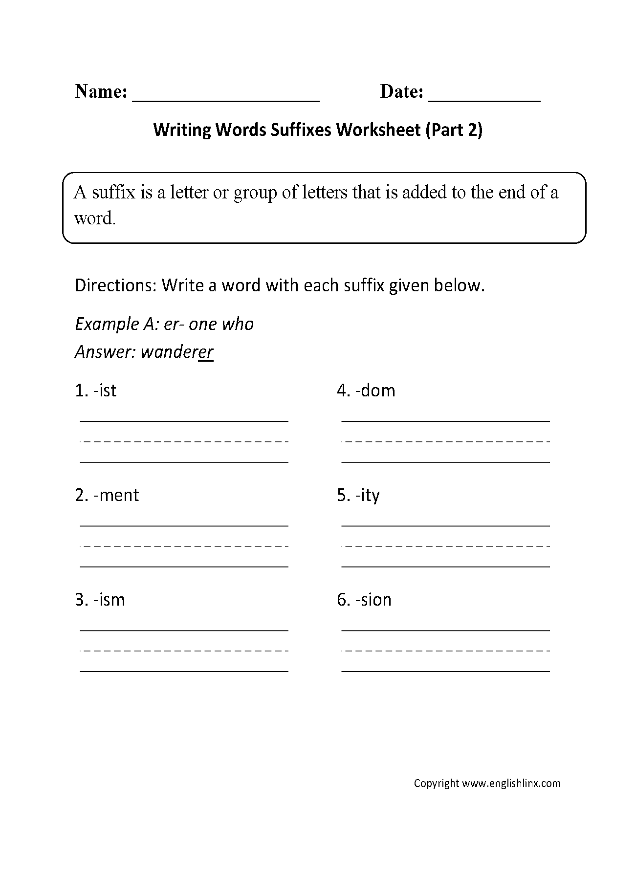 hight resolution of Englishlinx.com   Suffixes Worksheets