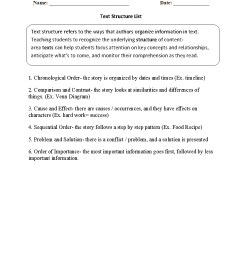 Text Structure Worksheets   Text Structure List Worksheets [ 1166 x 884 Pixel ]