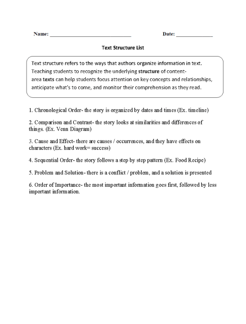 small resolution of Text Structure Worksheets   Text Structure List Worksheets
