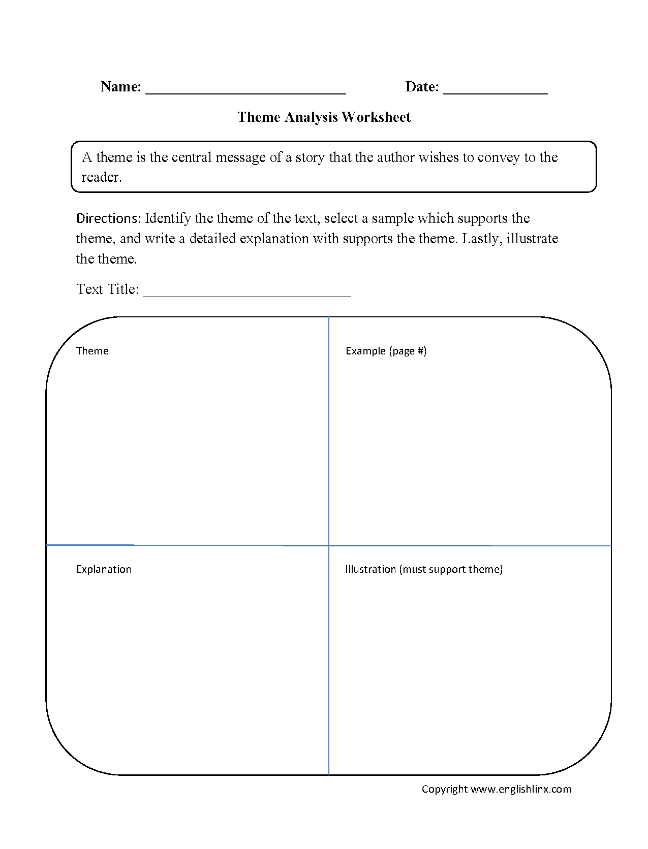 Characterysis Worksheet High School