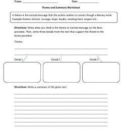 Theme Worksheets   Theme and Summary Worksheets [ 1672 x 1275 Pixel ]