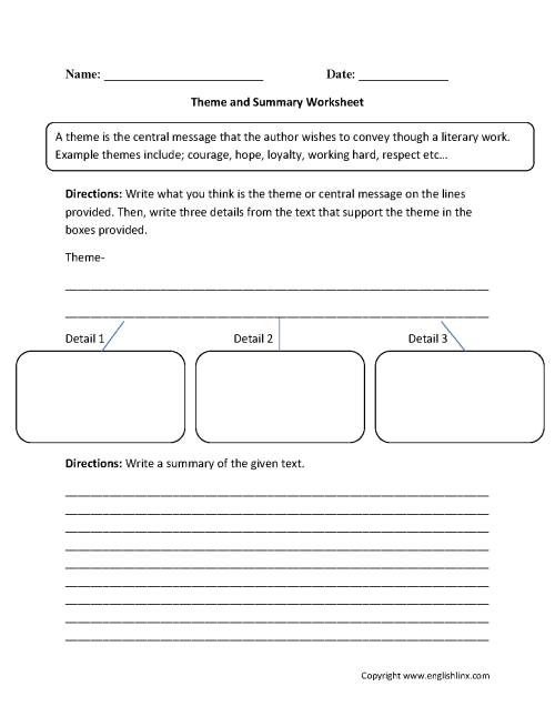 small resolution of Theme Worksheets   Theme and Summary Worksheets