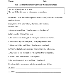 Commonly Confused Words Worksheets   Then vs Than Commonly Confused Words  Worksheets [ 1662 x 1275 Pixel ]