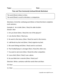 Commonly Confused Words Worksheets | Then vs Than Commonly ...