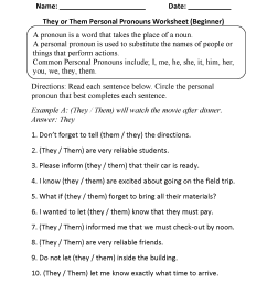 Personal Pronouns Worksheets   They or Them Personal Pronouns Worksheets  Beginner [ 2200 x 1700 Pixel ]