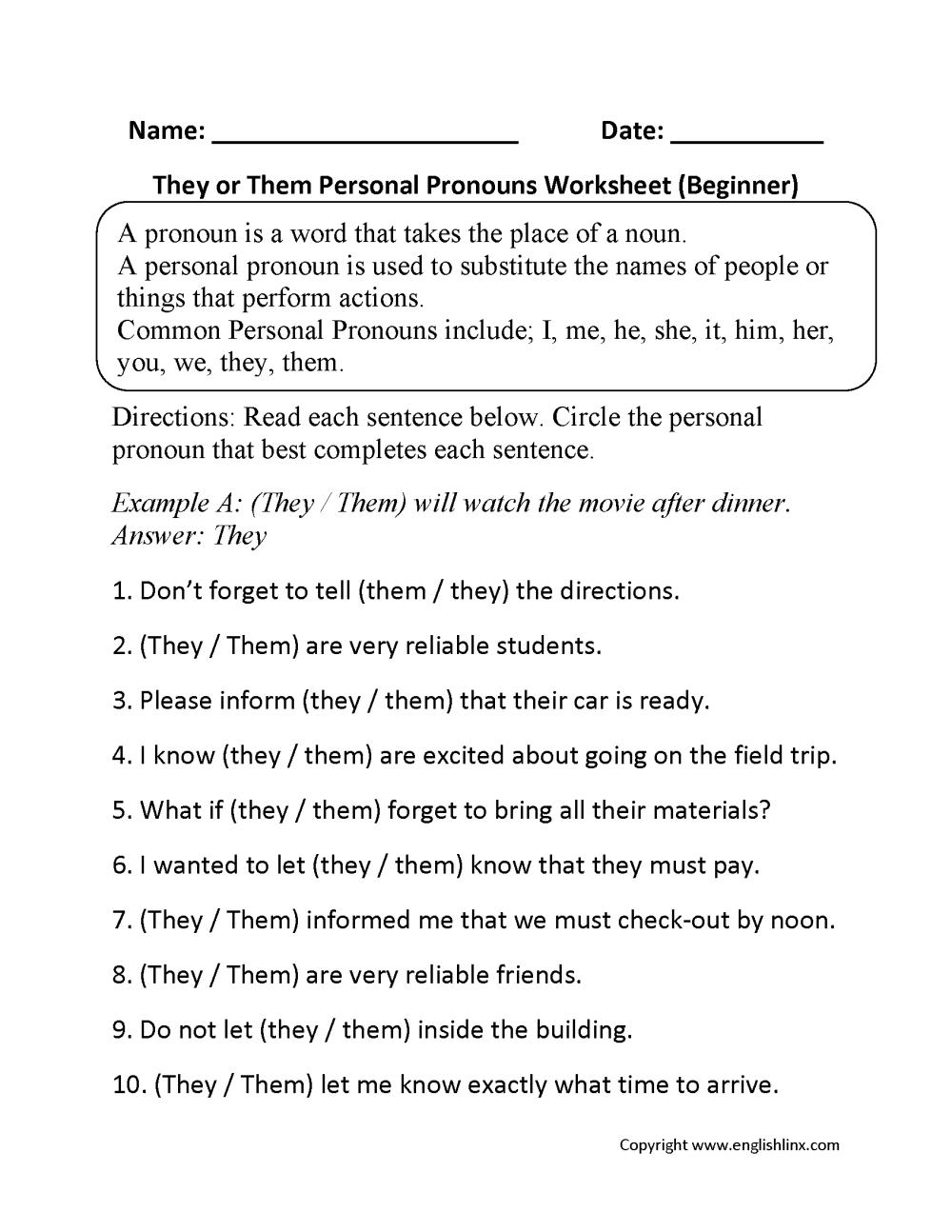 medium resolution of Personal Pronouns Worksheets   They or Them Personal Pronouns Worksheets  Beginner