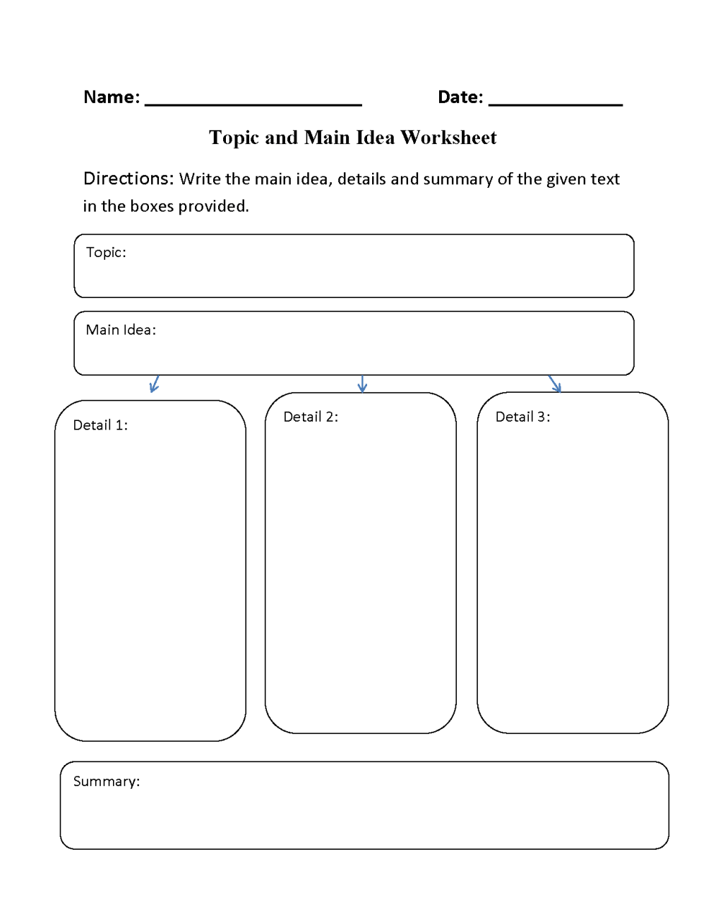 medium resolution of Main Idea Worksheets   Topic and Main Idea Worksheet