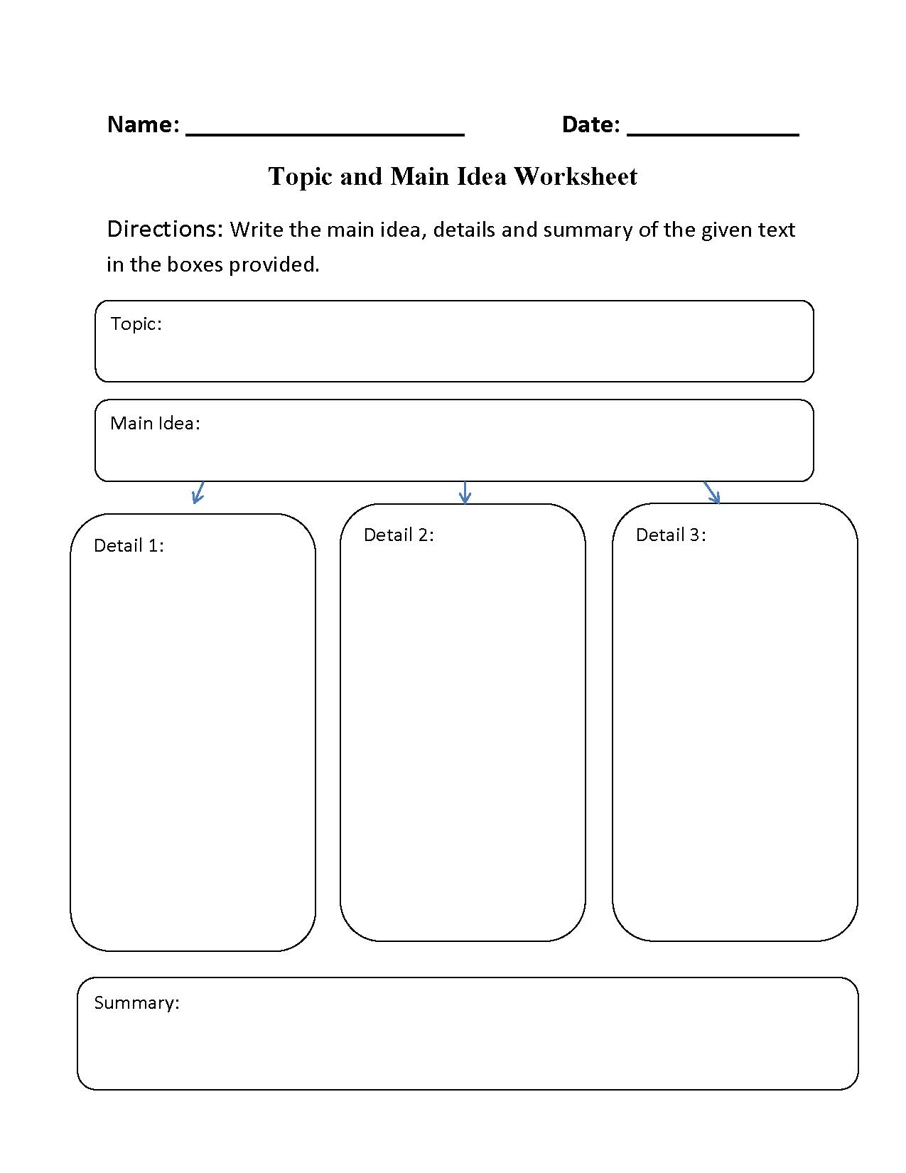 hight resolution of Main Idea Worksheets   Topic and Main Idea Worksheet