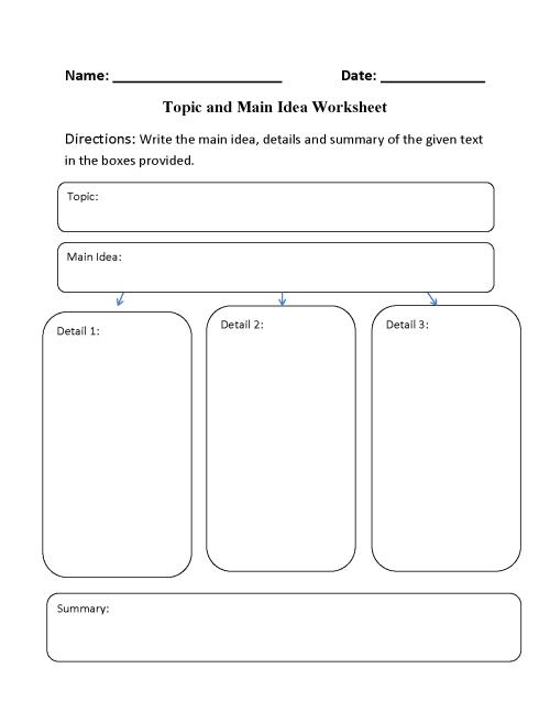 small resolution of Main Idea Worksheets   Topic and Main Idea Worksheet