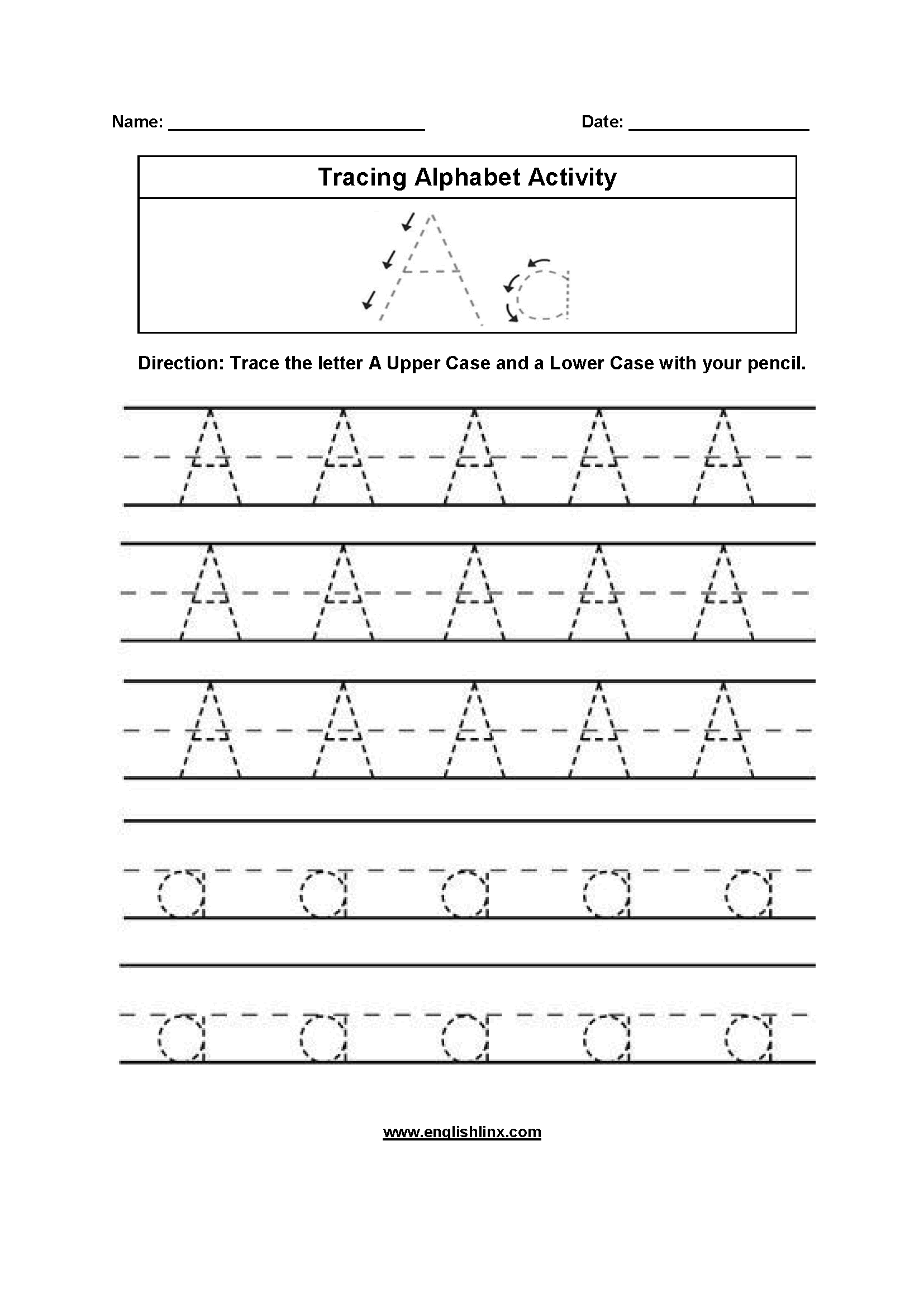 Aa Worksheet Letters Of The Alphabets