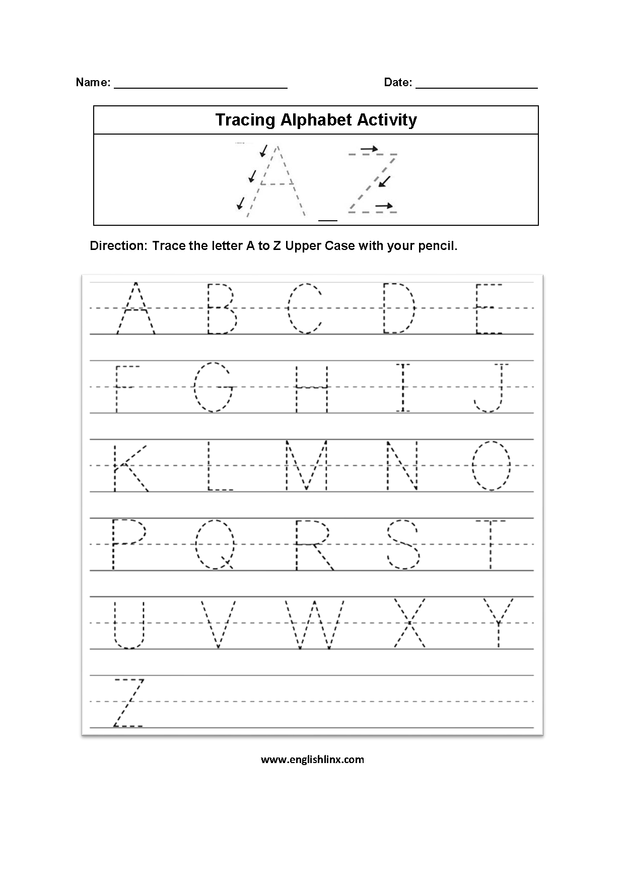 Worksheet Writing Alphabet
