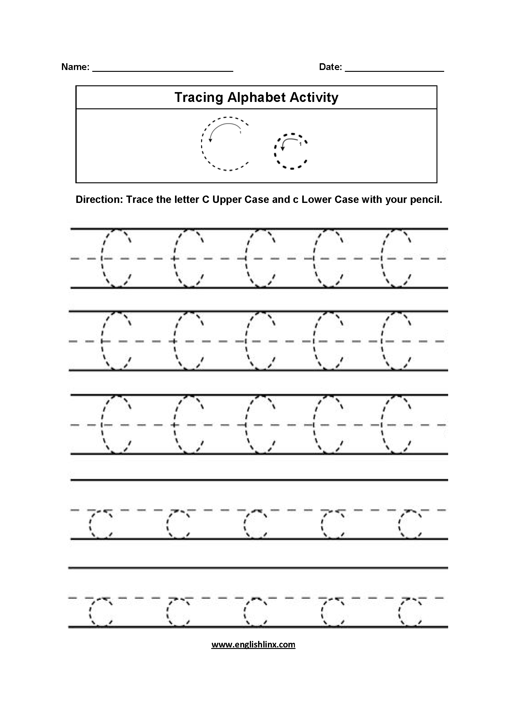 Trace Letter C Worksheets