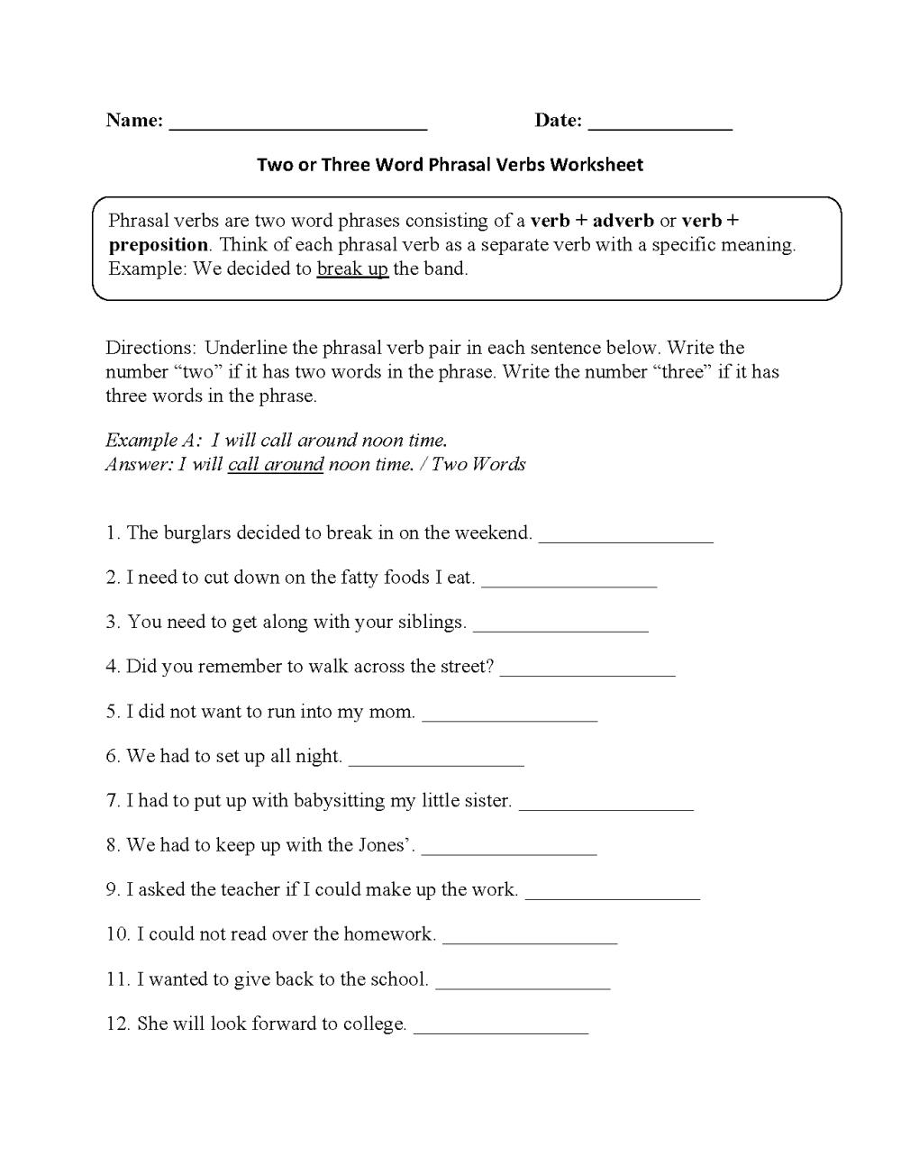 medium resolution of Verbs Worksheets   Phrasal Verbs Worksheets