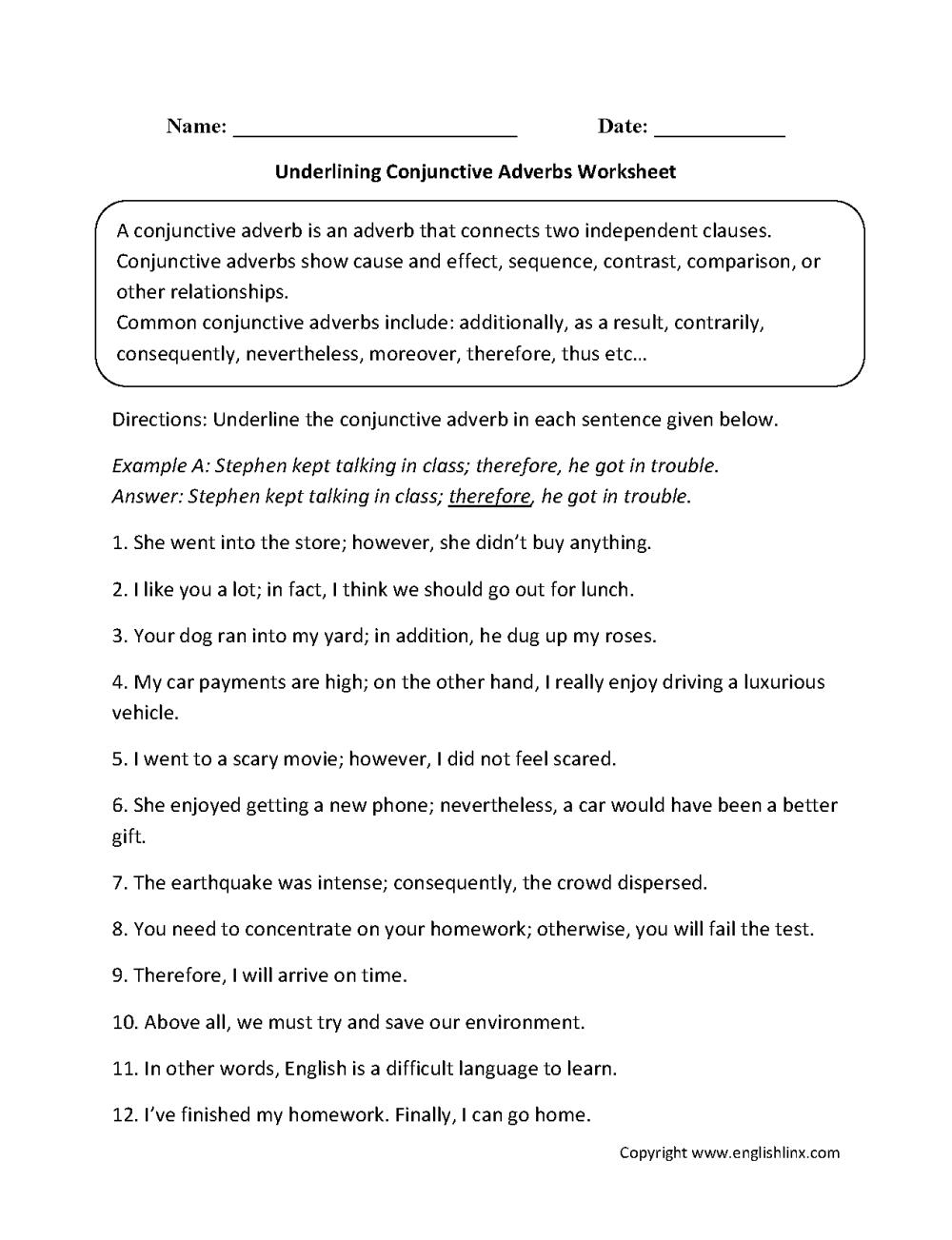 medium resolution of Conjunctions Worksheets   Underlining Conjunctive Adverbs Worksheet