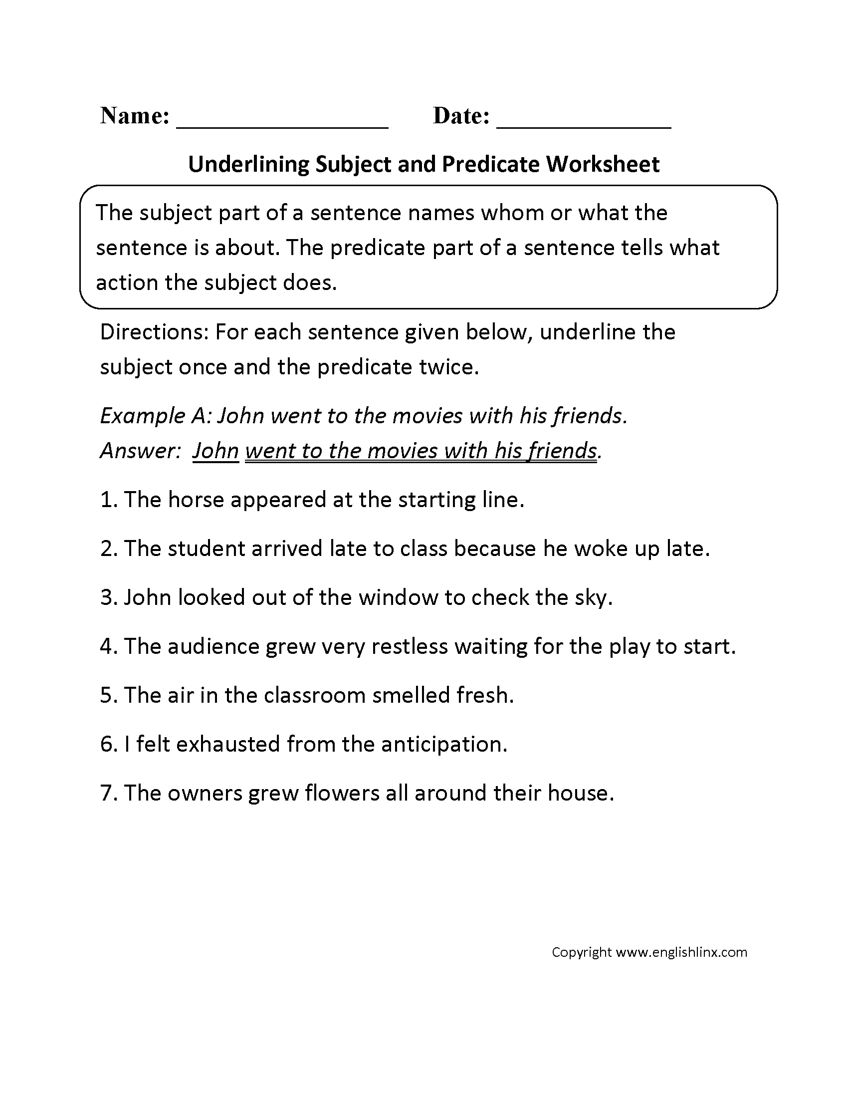 Subject Predicate Worksheets For Third Grade
