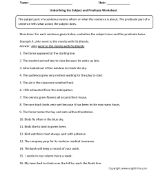 Subject and Predicate Worksheets   Underlining the Subject and Predicate  Worksheet [ 2200 x 1700 Pixel ]
