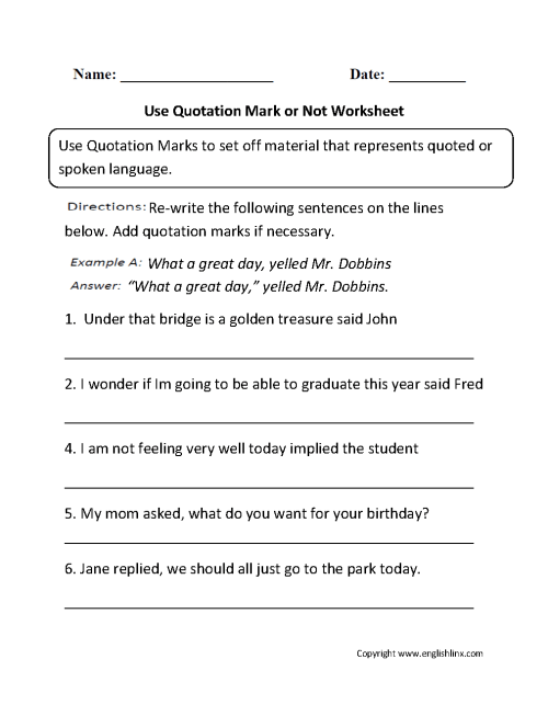 small resolution of Punctuation Worksheets   Quotation Mark Worksheets