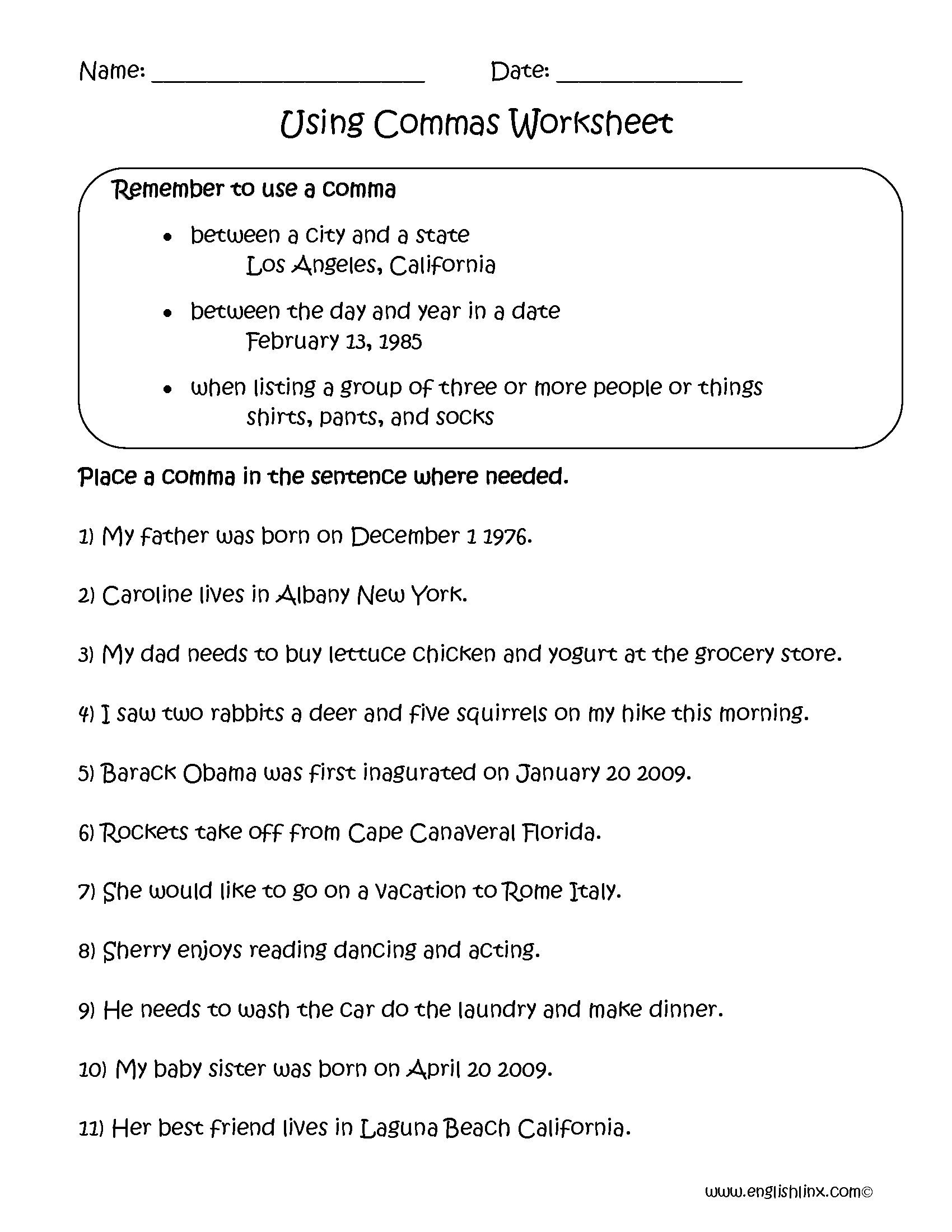 hight resolution of Englishlinx.com   Commas Worksheets