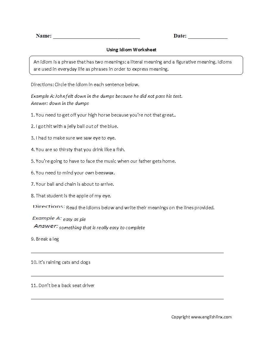 medium resolution of Figurative Language Worksheets   Idiom Worksheets