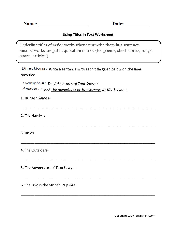 medium resolution of Grammar Mechanics Worksheets   Italics and Underlining Worksheets