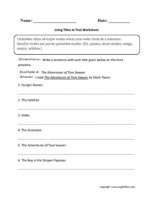small resolution of Grammar Mechanics Worksheets   Italics and Underlining Worksheets