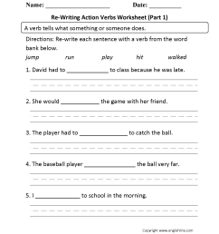 Action Verbs Worksheets   Re-Writing Action Verbs Worksheet Part 1 [ 2200 x 1700 Pixel ]