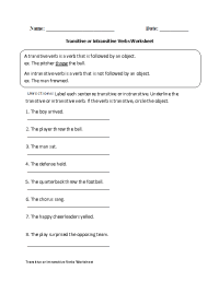 Action Verbs Worksheets | Transitive or Intransitive ...