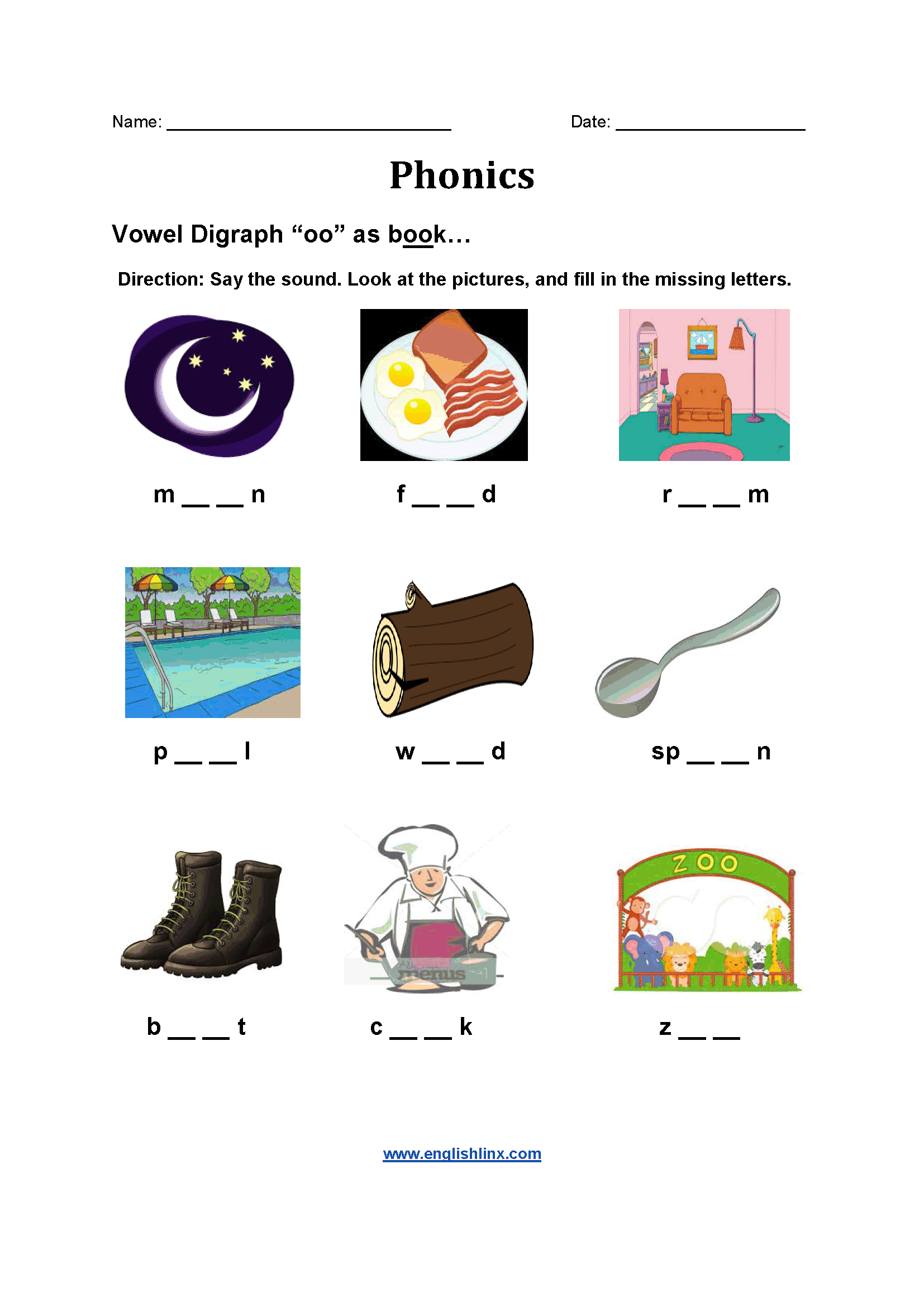 Digraph Worksheet Free