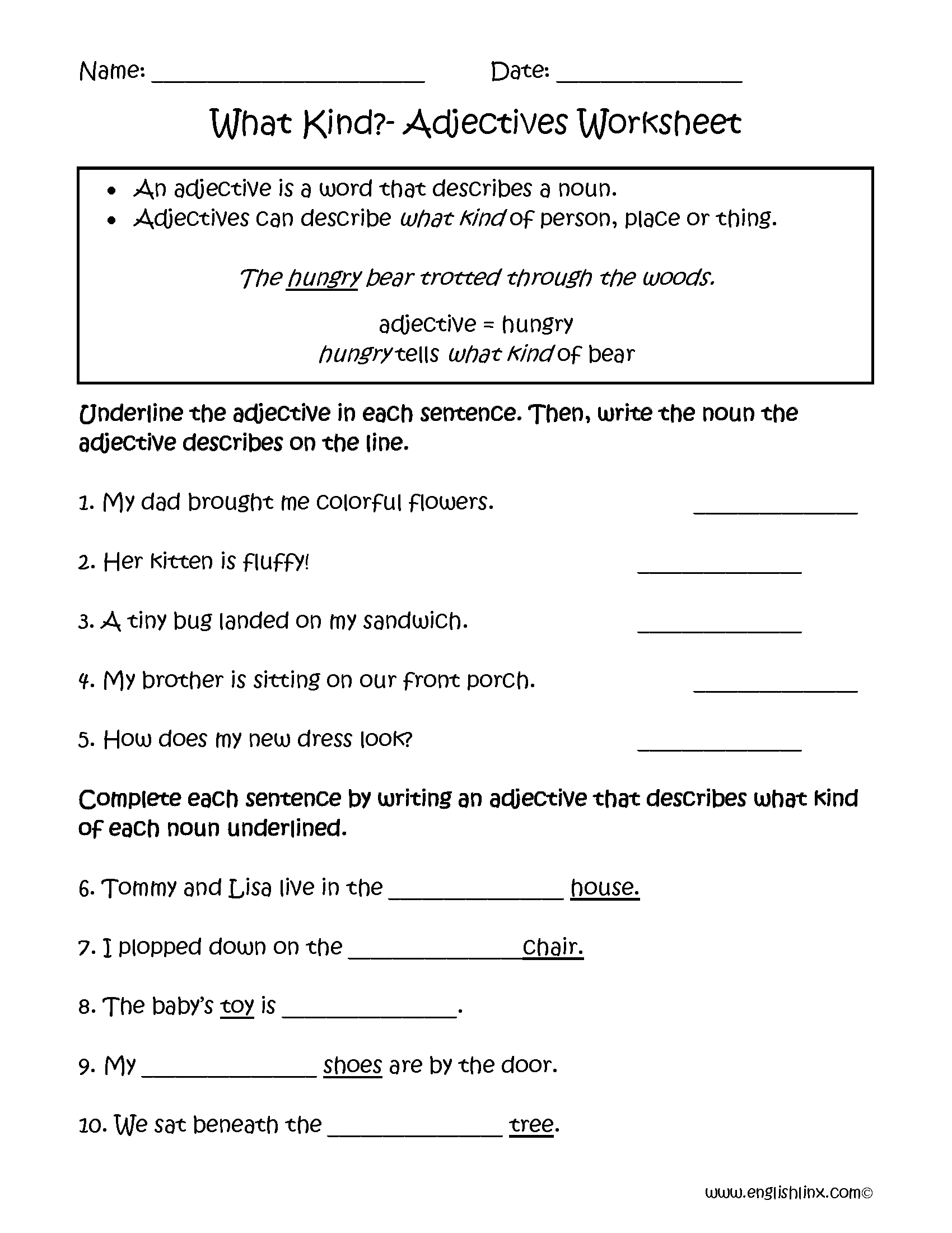 hight resolution of Adjectives Worksheets   Regular Adjectives Worksheets