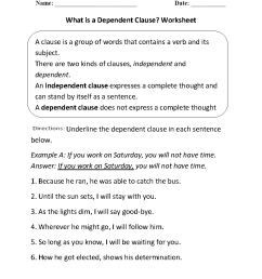Clauses Worksheets   What is a Dependent Clause? Worksheet [ 1188 x 910 Pixel ]