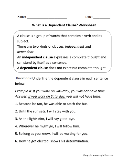 small resolution of Clauses Worksheets   What is a Dependent Clause? Worksheet