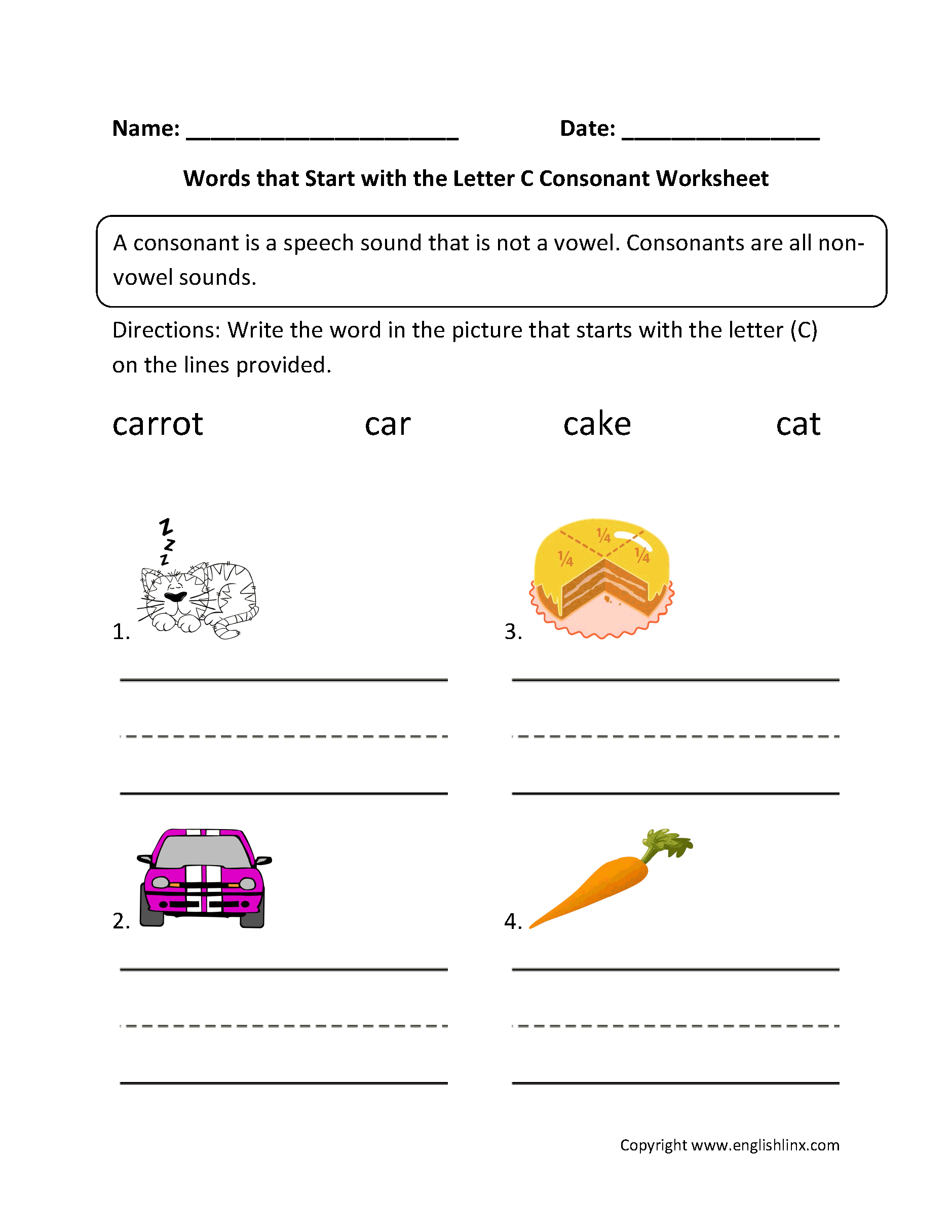 Letter C Phonics Worksheet