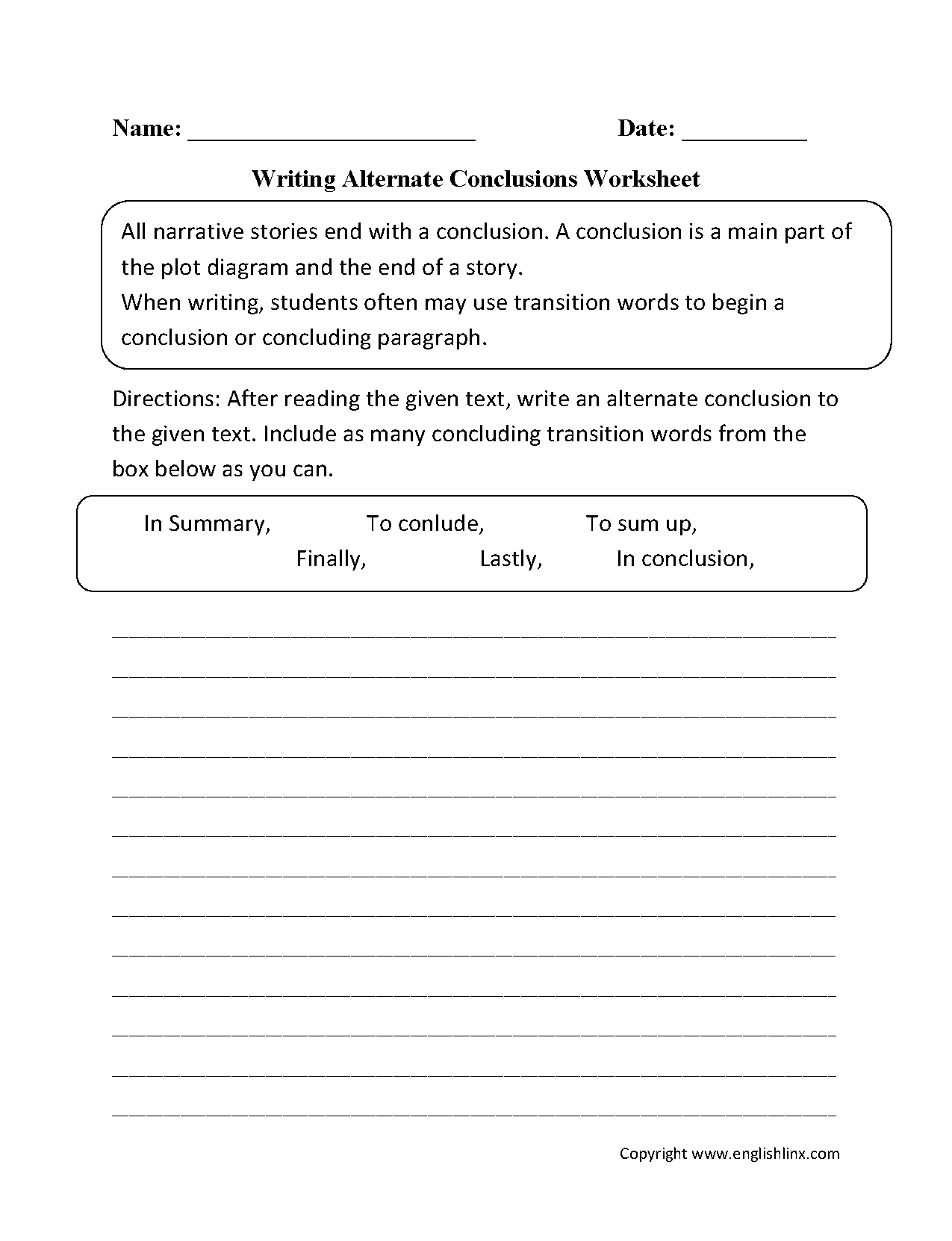 hight resolution of Englishlinx.com   Writing Conclusions Worksheets