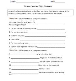 Cause and Effect Worksheets   Writing the Cause and Effect Worksheet [ 1166 x 910 Pixel ]