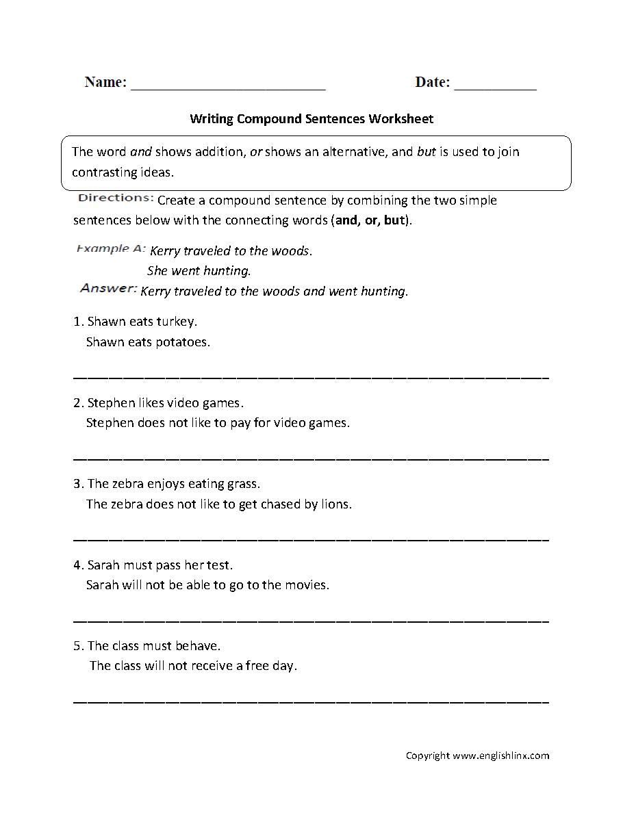 medium resolution of Sentences Worksheets   Compound Sentences Worksheets