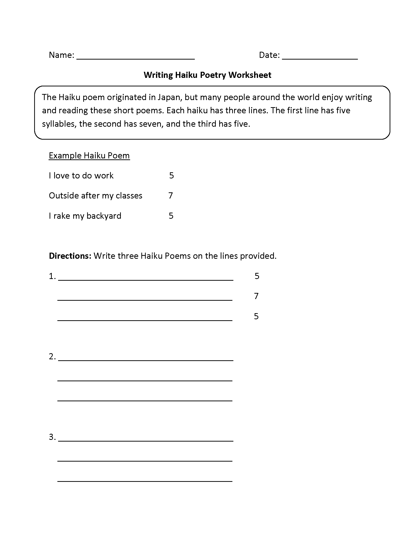 hight resolution of Writing Worksheets   Poetry Writing Worksheets