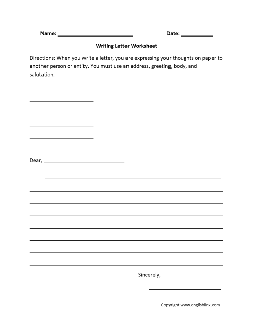 small resolution of Writing Worksheets   Letter Writing Worksheets