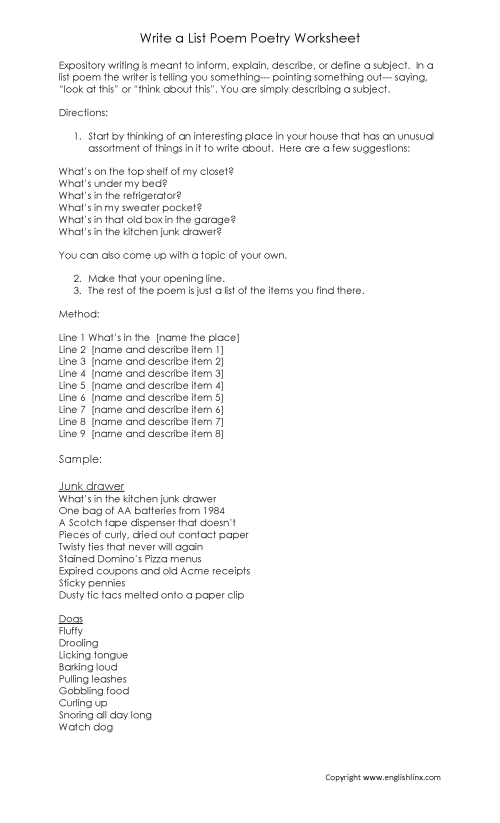 small resolution of Writing Worksheets   Poetry Writing Worksheets