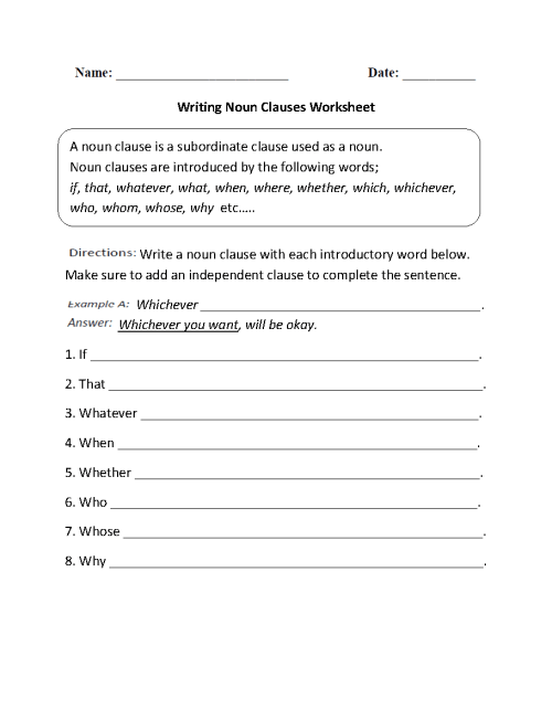 small resolution of Parts of a Sentence Worksheets   Clause Worksheets