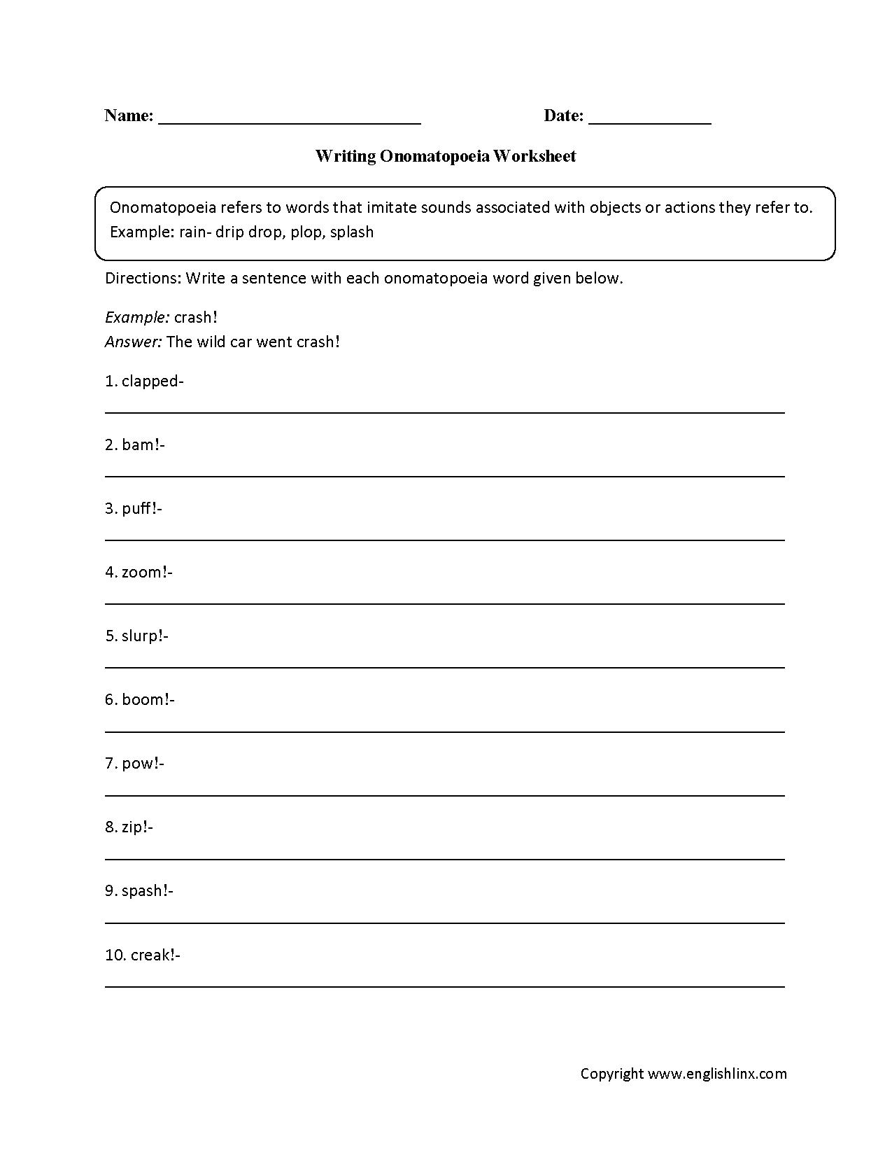 hight resolution of Englishlinx.com   Onomatopoeia Worksheets