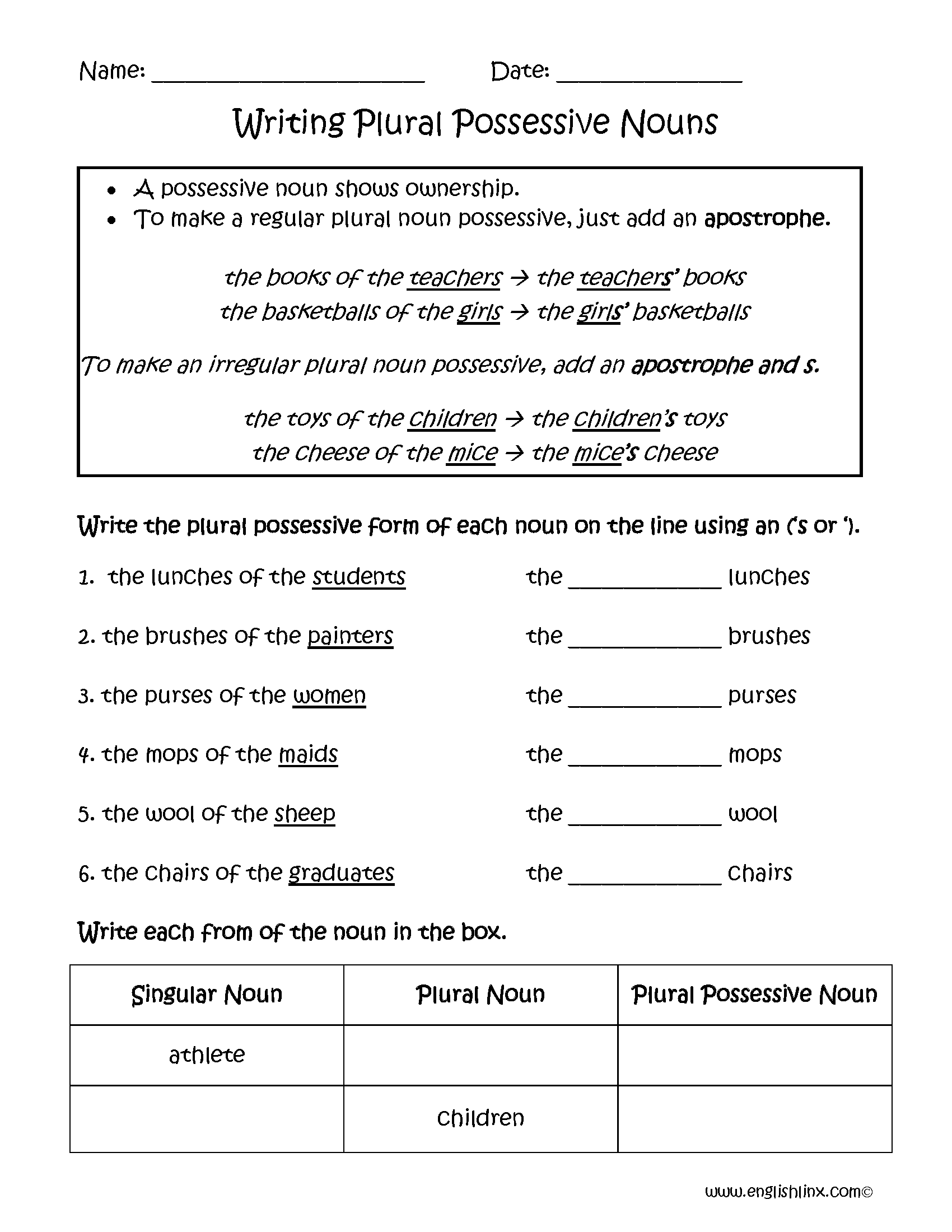 hight resolution of Possessive Nouns Worksheets   Writing Plural Possessive Nouns Worksheets