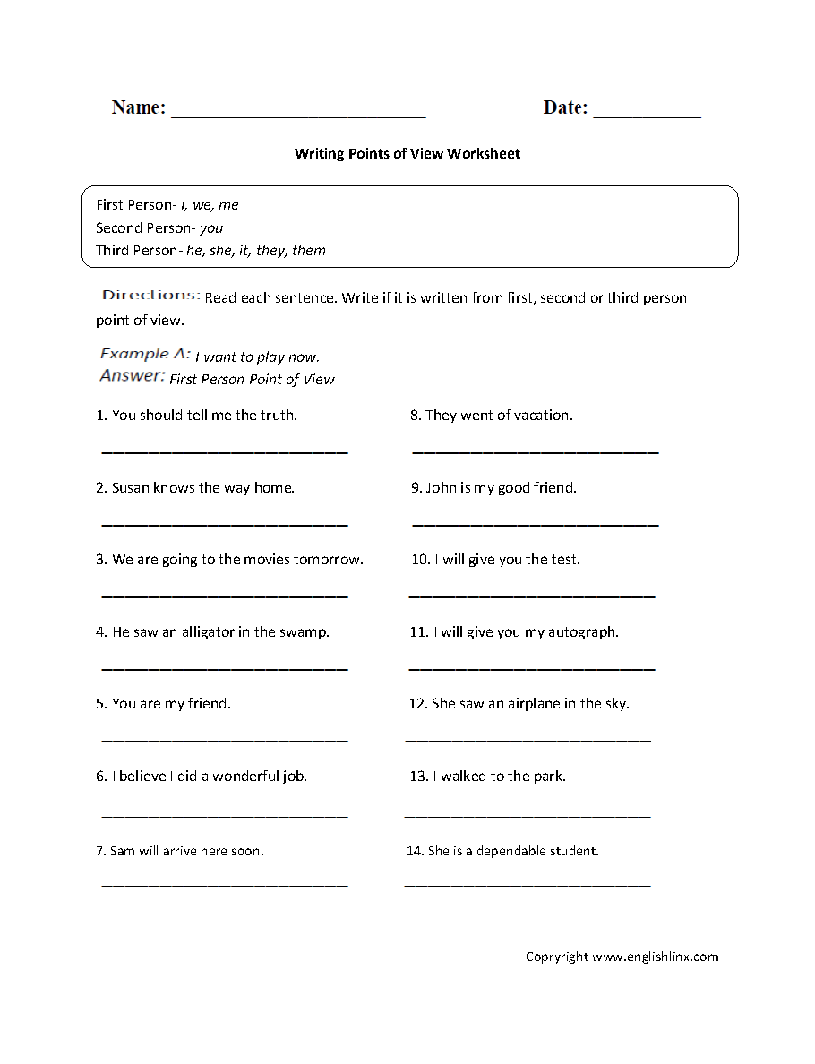 medium resolution of Englishlinx.com   Point of View Worksheets
