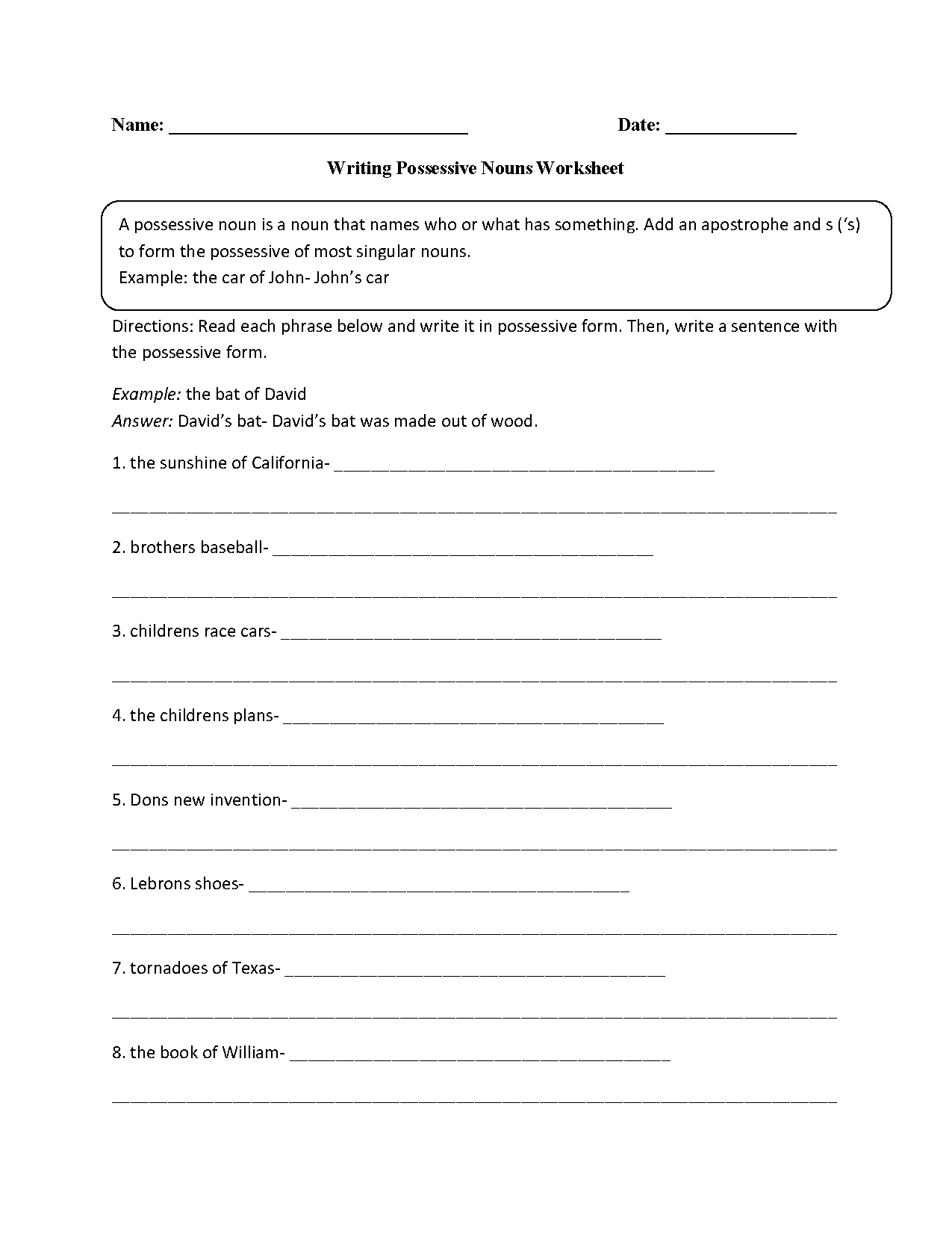 hight resolution of Possessive Nouns Worksheets   Writing with Possessive Nouns Worksheet