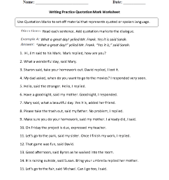 Punctuation Worksheets   Quotation Mark Worksheets [ 1188 x 910 Pixel ]