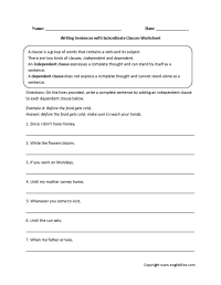 Independent And Dependent Clause Worksheets