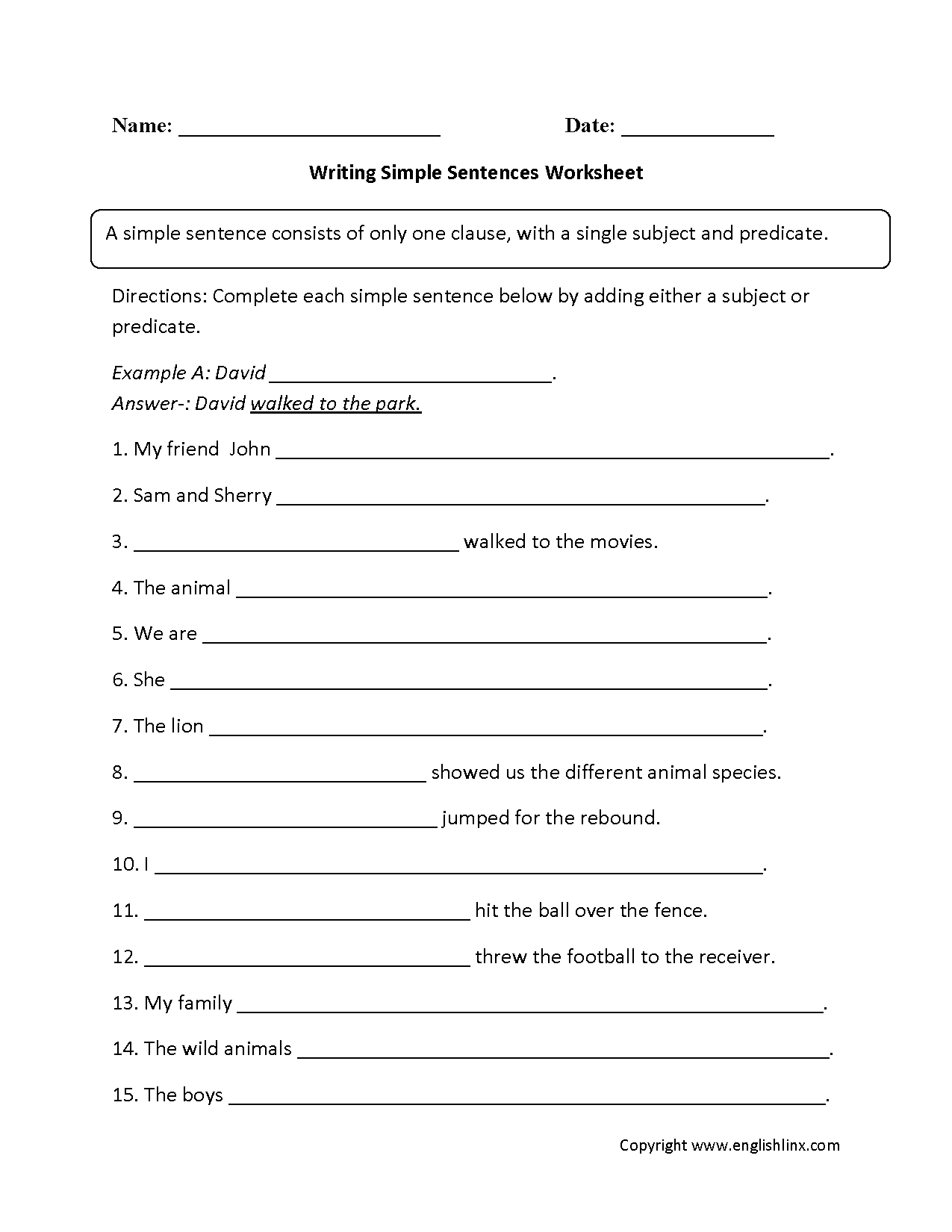 hight resolution of Simple Sentences Worksheets   Writing with Simple Sentences Worksheet