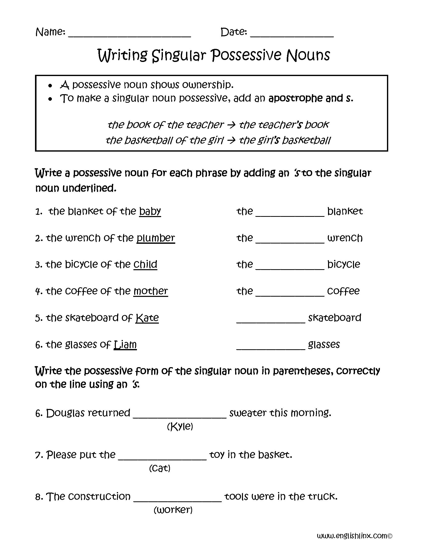 hight resolution of Possessive Nouns Worksheets   Writing Singular Possessive Nouns Worksheets